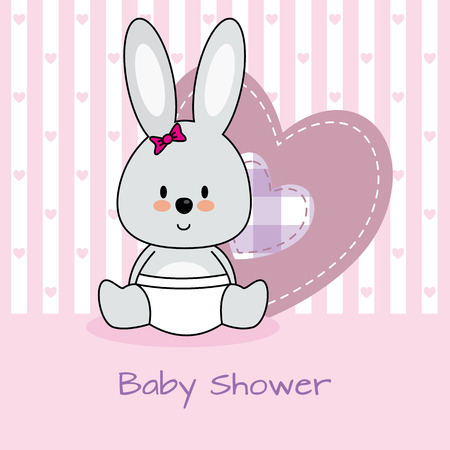 baby shower girl: baby shower card. rabbit and heart Illustration