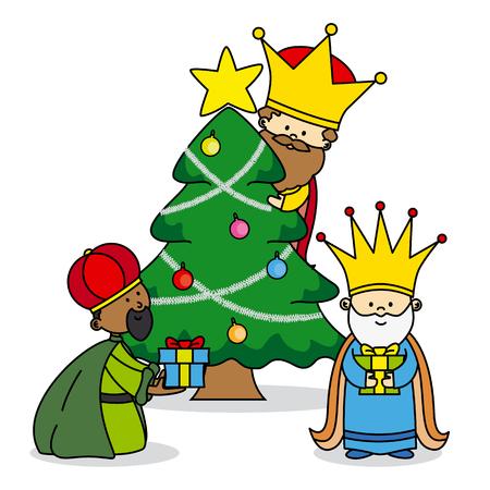 Kerstkaart. de drie koningen verlaten geschenken