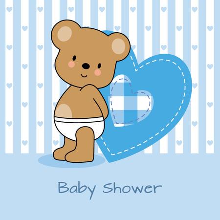 baby bear cartoon: baby shower card. bear and heart