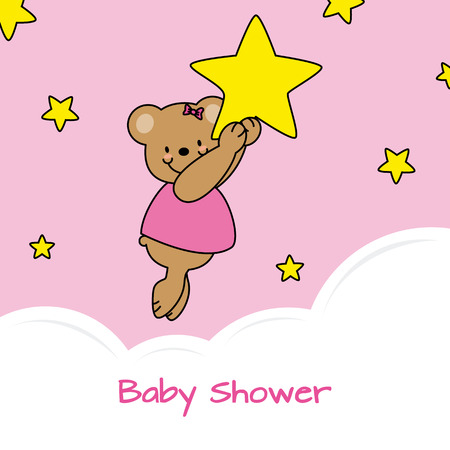 baby bear: baby shower card. bear and stars Illustration