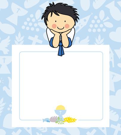 comunion: Boy primera tarjeta de la comunión Vectores