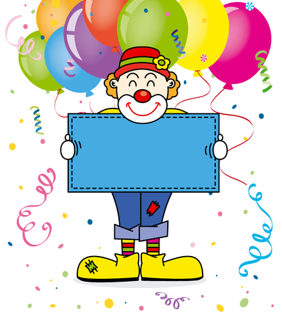 costume party: Costume party card. clown