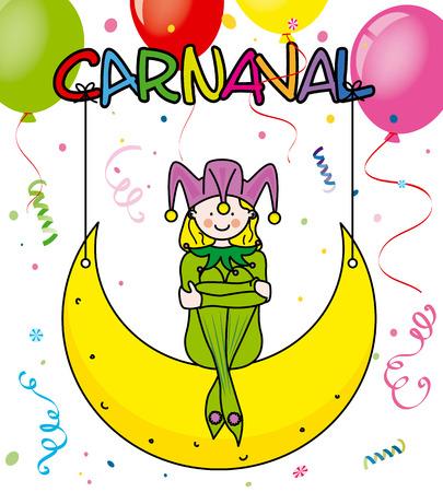 buffoon: Carnival card. Harlequin, balloons and confetti