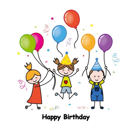 balloon girl: birthday card Illustration