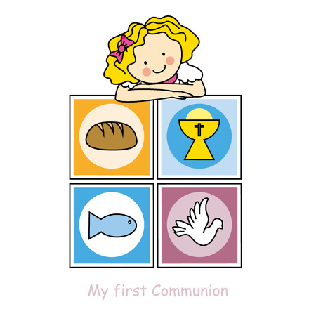 confirmation: Girl First Communion card