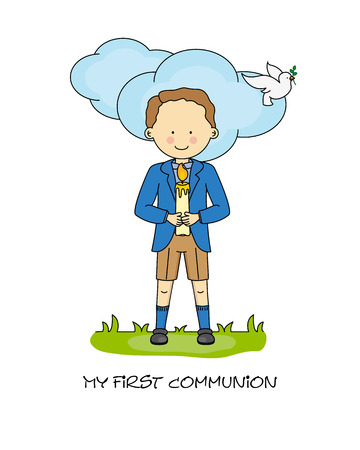 confirmation: Boy First Communion card