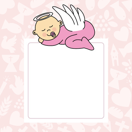 angel fish: baby girl sleeping. blank space for photo or text