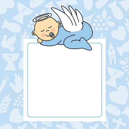 angel fish: baby boy sleeping. blank space for photo or text