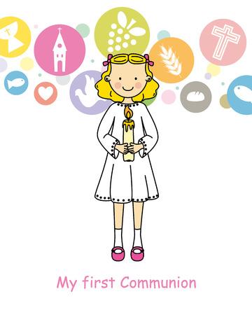 grail: Girl First Communion Illustration