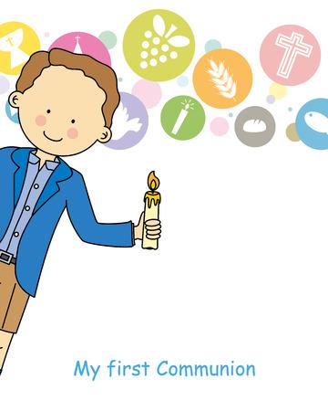 primera comunion: Niño de primera comunión Vectores