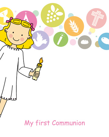 holy family: Girl First Communion Illustration