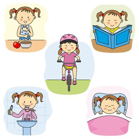 higiene bucal: Las actividades diarias de una niña Vectores