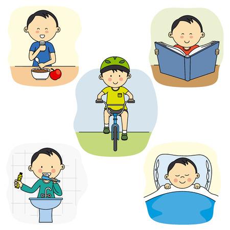 De dagelijkse activiteiten van een jongen
