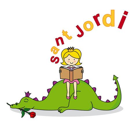 Dragon and Princess. Sant Jordi Stock Illustratie