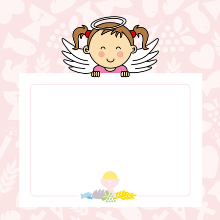 christening: Baby girl with wings. blank space for photo or text Illustration