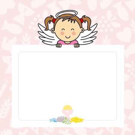 bautizo: Beb� con las alas. espacio en blanco para la foto o el texto