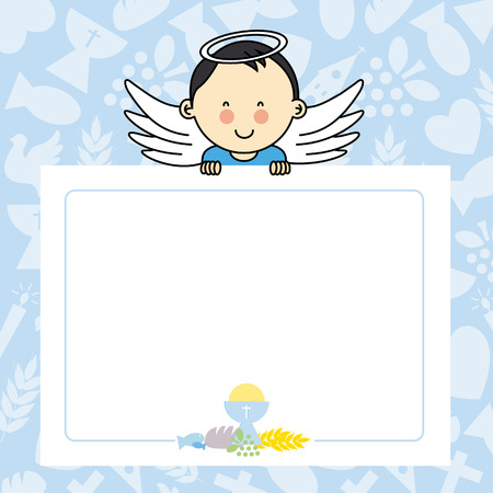 background frame: Baby boy with wings. blank space for photo or text