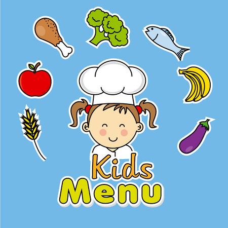 Kids menu. girl chef Vector