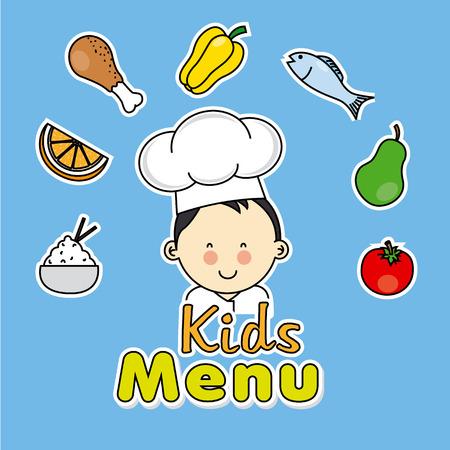 Kids menu. Boy chef Vector