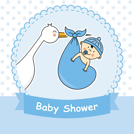 baby birth: Baby boy arrival announcement card Illustration