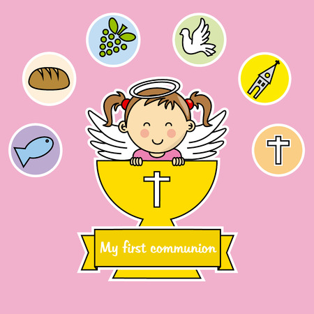 postcard background: first communion girl Illustration