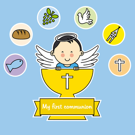 fruits background: first communion boy