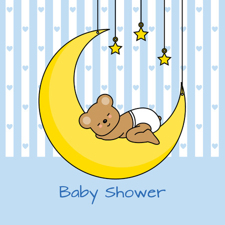 Bear sleeping on the moon. baby boy shower card Vector
