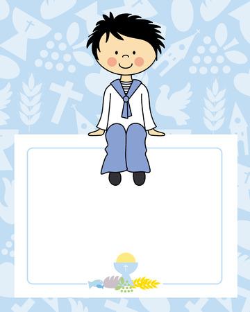 jongen communie kaart. Ruimte voor tekst of foto Stock Illustratie