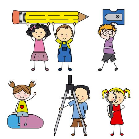 objects: children with school objects