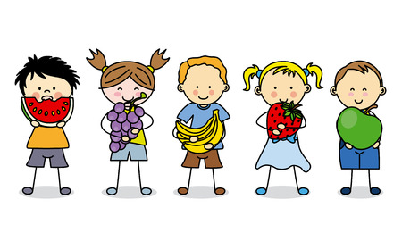 personas comiendo: Grupo de niños con frutas