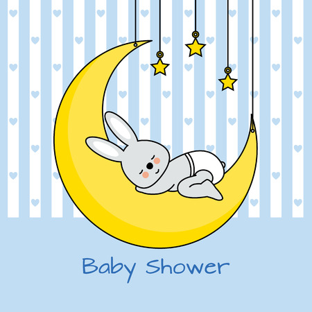 rabbit sleeping on the moon. baby boy shower card