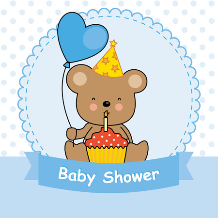 baby bear: baby shower. bear with cupcake Illustration