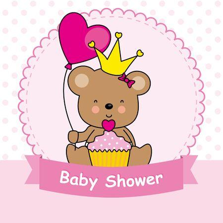 baby bear: baby girl card. bear with cupcake