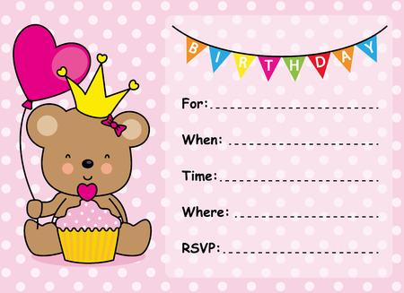 birthday invitation: Invitation Card Birthday Girl Illustration