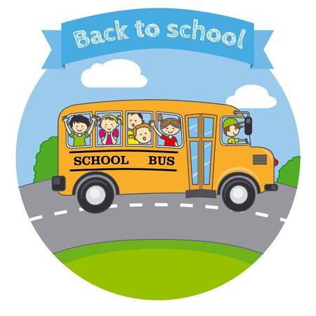 transporte escolar: Niños en un autobús escolar Vectores