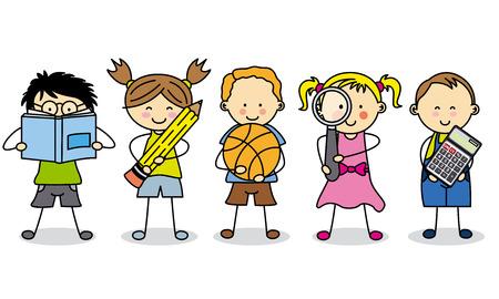 objetos escolares: los ni�os con objetos de la escuela
