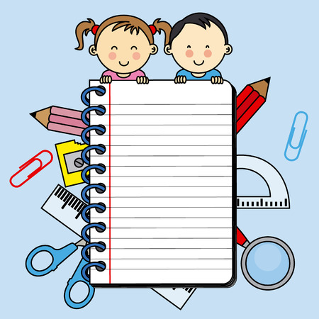space for writing: Children with a notebook with space for writing