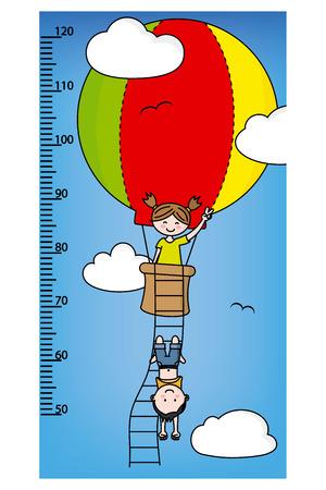 millimeter: Bumper children meter wall. Children in a balloon