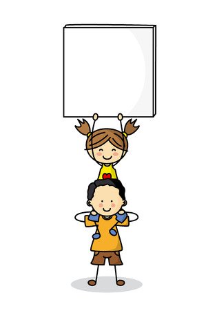 blank signs: children with Blank Signs Illustration