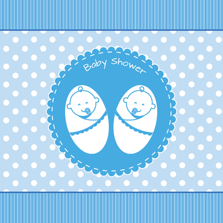 human vector: Twins baby shower