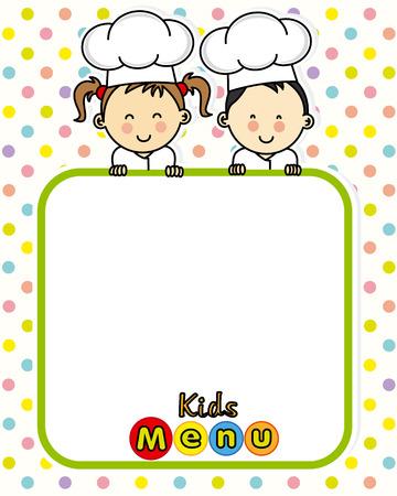 niños cocinando: menú infantil. espacio para el texto