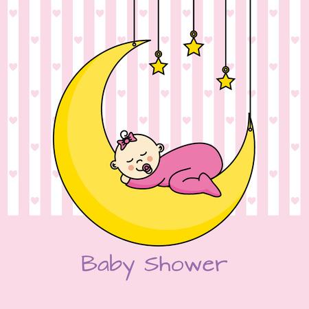 baby girl: baby sleeping on the moon. baby girl shower card. Illustration