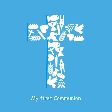 Tarjeta de Invitación Primera Comunión Foto de archivo - 47617156