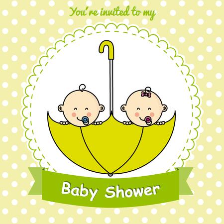bebes niñas: Los gemelos bebé ducha. bebés gemelos dentro de un paraguas