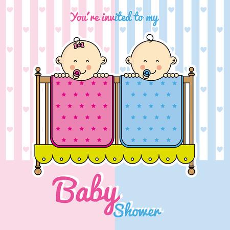gemelos niÑo y niÑa: Los gemelos bebé ducha. bebés en la cuna.