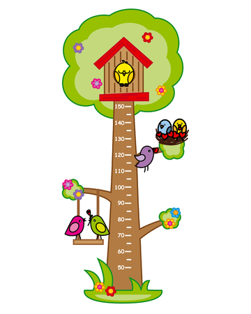 birds in tree: Bumper children meter wall. Tree and birds.