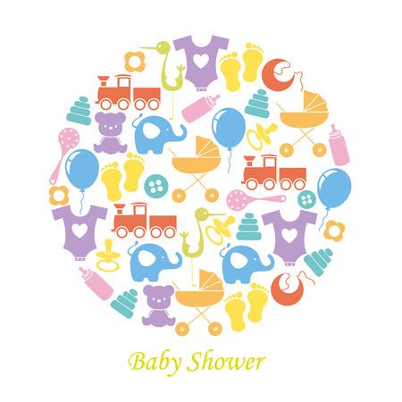 oso de peluche: Tarjeta de la ducha del bebé. Iconos del bebé Vectores