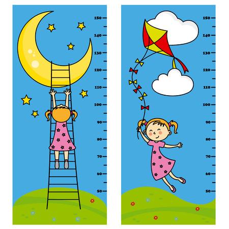 papalote: Pared metros niña de dos parachoques. chica quiere llegar a la Luna. chica volando su cometa Vectores