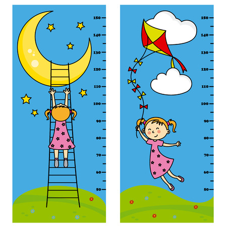 flying kite: Two bumper girl meter wall. girl wants to reach the moon. girl flying his kite Illustration