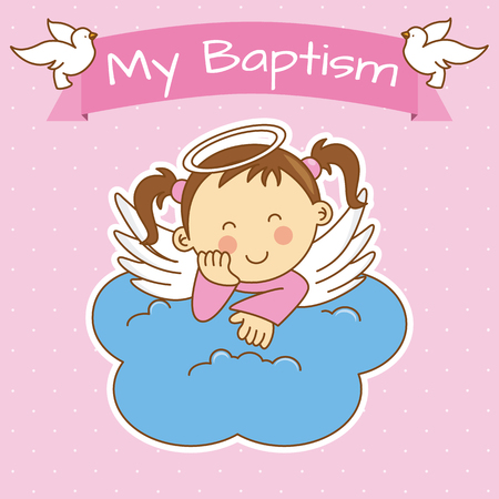 Angel wings on a cloud. girl baptism 일러스트